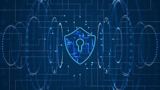 Cyberveiligheidsconcept: schild met sleutelgatpictogram op digitale gegevensachtergrond. Premium Foto
