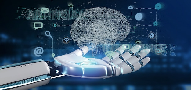 Cyborg hand met een kunstmatige intelligentie geconcludeerd met een brein en app Premium Foto