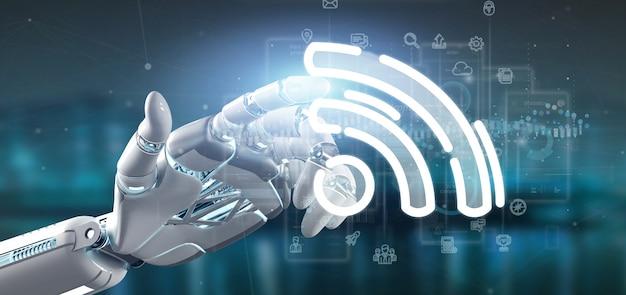 Cyborg hand met een wifi-pictogram met alle gegevens Premium Foto