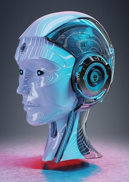 Cyborg hoofd kunstmatige intelligentie 3d-rendering Premium Foto
