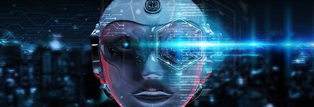 Cyborg hoofd met behulp van kunstmatige intelligentie om digitale interface 3d-rendering te creëren Premium Foto