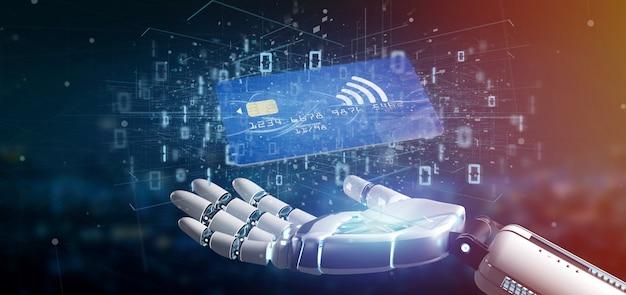 Cyborghand die het concept van de de creditcardbetaling van contactless het 3d teruggeven houden Premium Foto