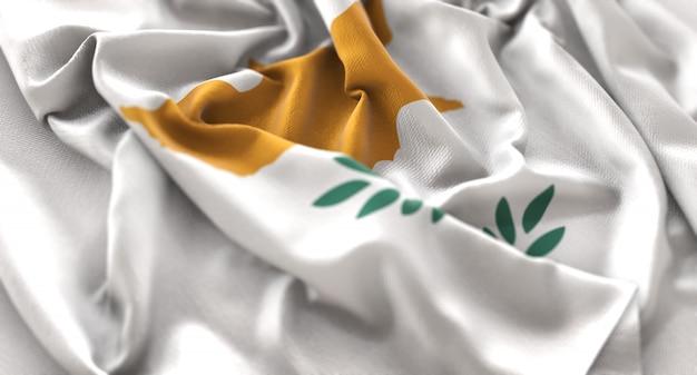 Cyprus flag ruffled mooi wave macro close-up shot Gratis Foto