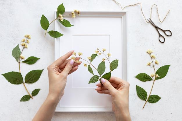 Dames handen versieren een herbarium van bloemen in een lijst voor foto's. botanische illustraties in woondecoratie. plat lag. witte betonnen achtergrond Premium Foto
