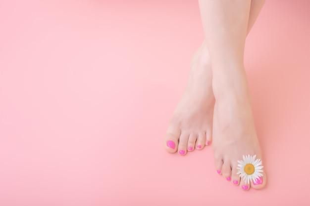 Damesvoeten met pedicure op nagels en kamille bloemdecoratie. huidverzorging concept Premium Foto
