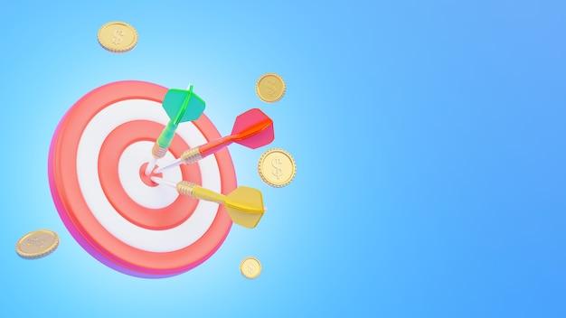 Dartboard met pijl in het midden en munten vertegenwoordigt bedrijfsconcept in 3d-rendering Premium Foto