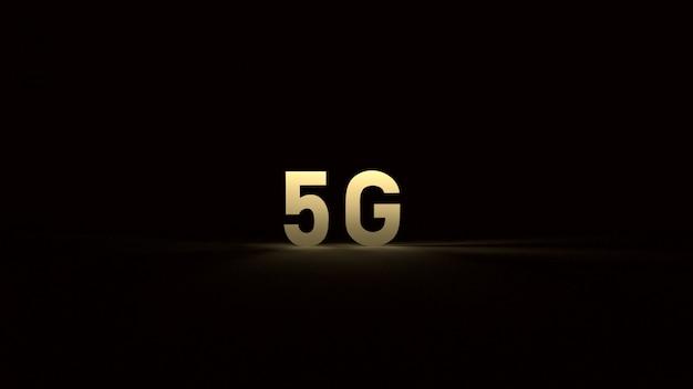 De 5 g goud in het donker 3d-rendering voor technologische inhoud. Premium Foto