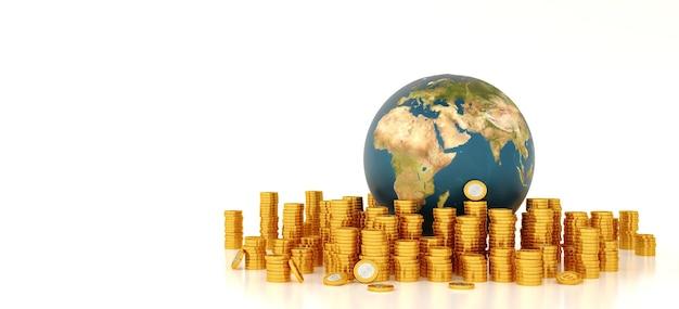 De aarde is omgeven door stapmunten. Premium Foto