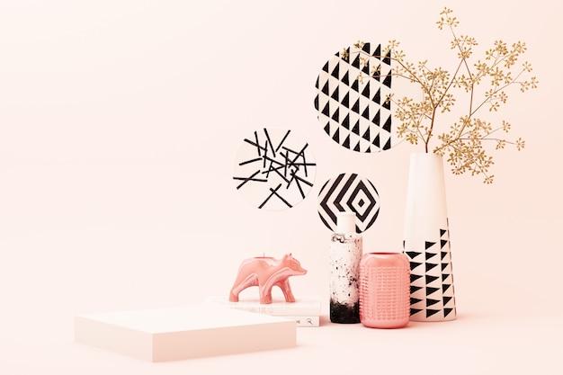 De abstracte geometrische scène van de vormpastelkleur roze kleur minimaal met decoratie en steun, ontwerp voor 3d schoonheidsmiddel of productvertoningpodium geeft terug Premium Foto