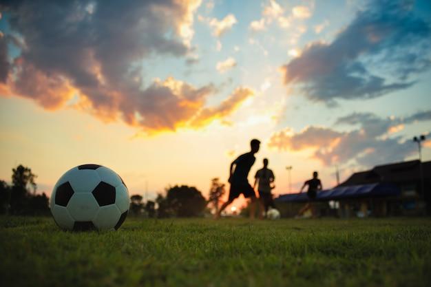 De actiesport van het silhouet in openlucht van een groep jonge geitjes die voetbal van het pret speelvoetbal hebben Premium Foto