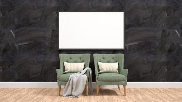De affichemodel van de vertoning op muur het 3d teruggeven Premium Foto