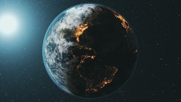 De baan van de planeet van de aarde draait bij felle zon in de donkere ruimte Premium Foto