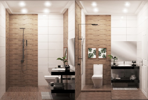 de badkamers houten muur en vloer van het zenontwerp japanse stijl 3d rendering