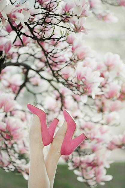 De benen van de mooie vrouw in de roze schoenen op de bloesem magnoliaboom Gratis Foto