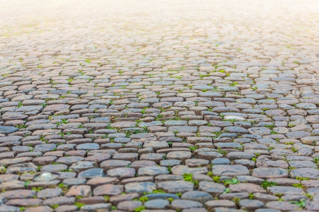 De bestratingstextuur van de steen in perspectief Premium Foto