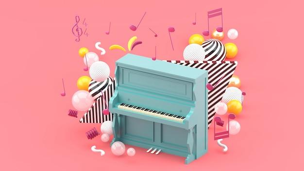De blauwe piano is omgeven door noten en kleurrijke ballen op het roze. 3d render Premium Foto