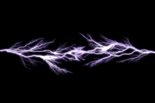 De bliksembouten van de donder die op zwarte achtergrond, abstract elektrisch concept worden geïsoleerd Premium Foto