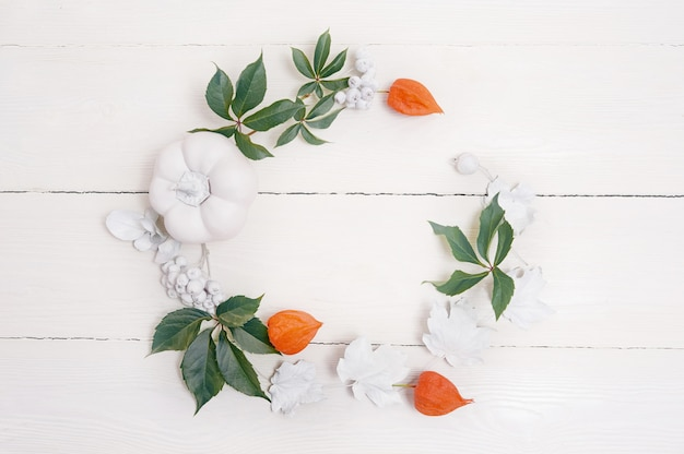 De bodemgrens van de herfst van witte pompoenen en zilveren bladeren Premium Foto