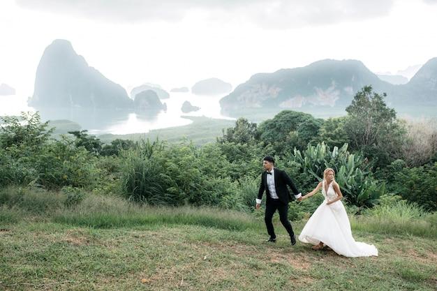 De bruid en bruidegom lopen en houden handen op de heuvel. mooi landschap met bergen en meer. Premium Foto