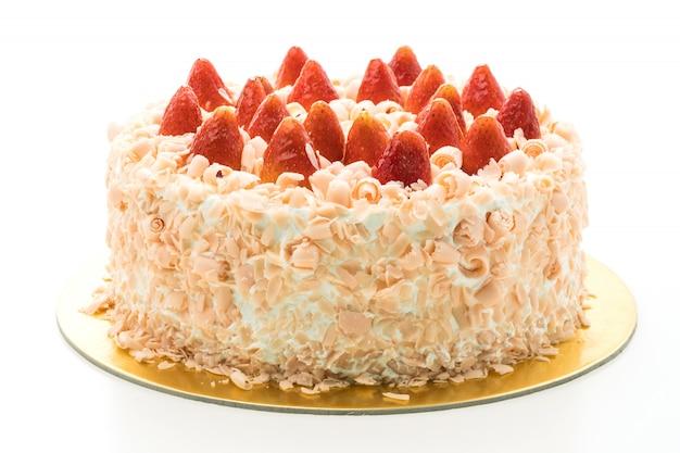 De cakedessert van de vanille met aardbei op bovenkant Gratis Foto