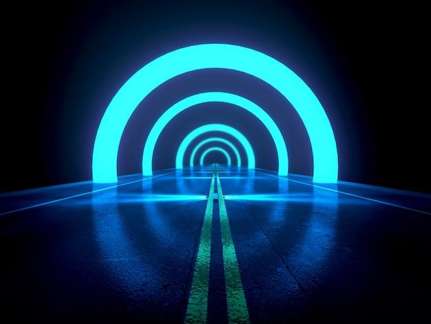 De donkerblauwe abstracte achtergrond, futuristische weg met licht en effect 3d concept, geeft terug Premium Foto