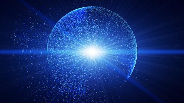 De donkerblauwe achtergrond heeft een klein blauw stofdeeltje dat schijnt in een cirkelvormige, explosieve lichtstraal. Premium Foto