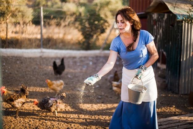 De emmer die van de vrouwenholding de kippen in landbouwbedrijf voedt Gratis Foto