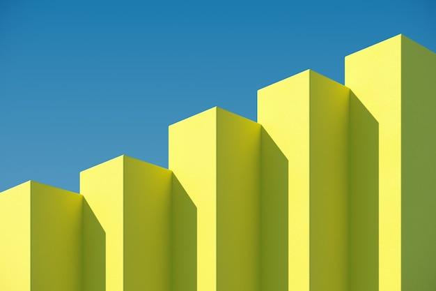 De gele doosbouw met schaduwen op hemelachtergrond. minimaal architectuurideeënconcept. 3d render. Premium Foto