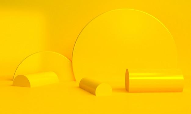 De gele geometrische 3d vorm minimalistische abstracte achtergrond, geeft terug. Premium Foto