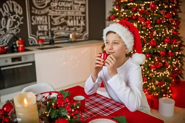 De gelukkige jongen in de hoed van de kerstman viert kerstmis Premium Foto