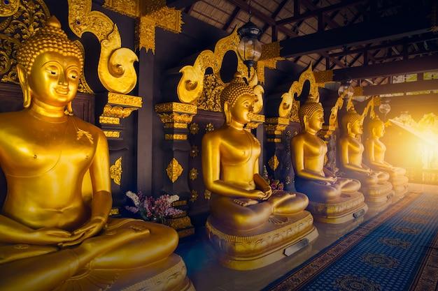 De gouden rij van boedha in de tempel van thailand bij lampang-provincie Premium Foto