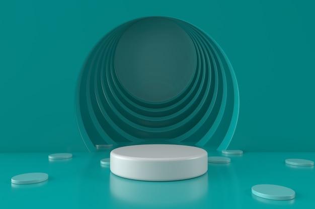 De groene achtergrond van de cirkelruimte met 3d podium geeft terug Premium Foto