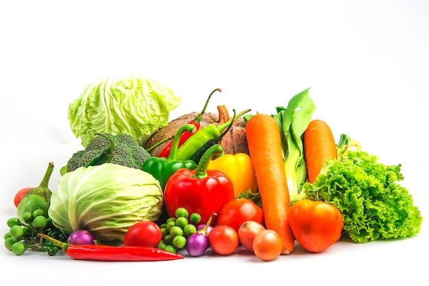 De groenten van de inzameling isoleerden witte achtergrond Premium Foto