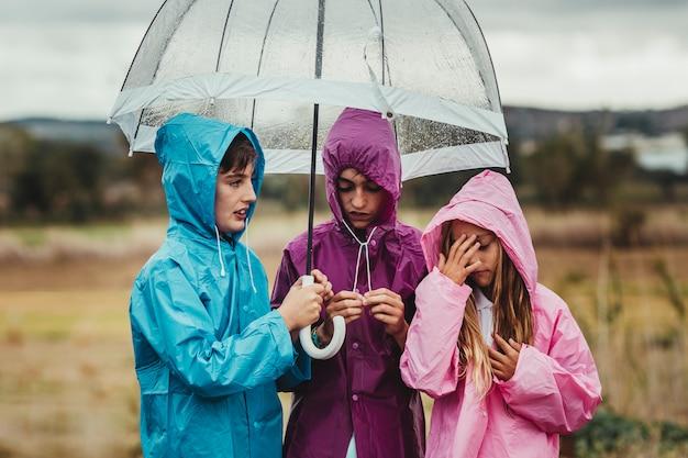 De groep kinderen kleedde zich in regenregenjassen die en in openlucht met een paraplu op een regenachtige dag op hun rit van het gebiedsavontuur lopen spelen Premium Foto