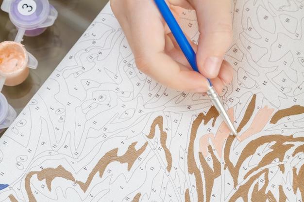 De hand van het jonge meisje trekt met een penseel door nummers op canvas te schilderen Premium Foto