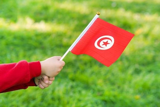 De handen van het meisje houden de vlag van tunesië Premium Foto