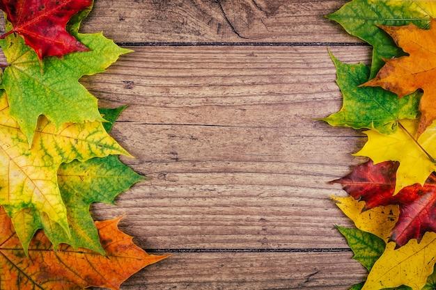 De herfstachtergrond met de kleurrijke bladeren van de dalingsesdoorn op rustieke houten lijst. thanksgiving vakantie concept. groene, gele en rode herfstbladeren. bovenaanzicht Premium Foto