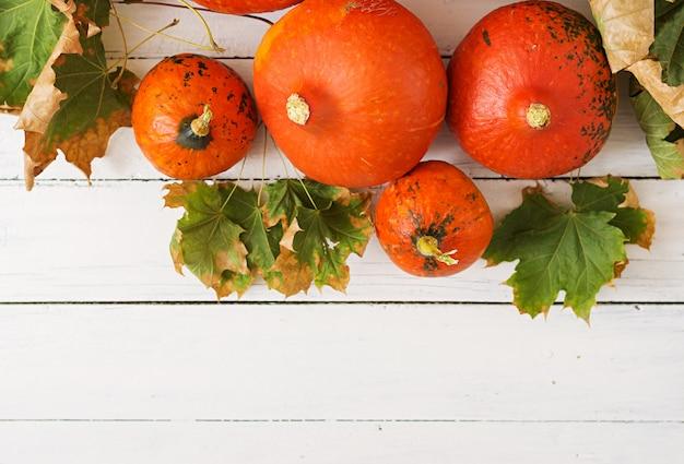 De herfstpompoenen en bladeren op een witte houten lijst. thanksgiving-tafel. halloween. Gratis Foto
