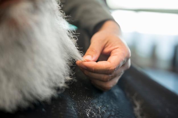 De holding van de kapper bundel grijze haarcliënt Gratis Foto
