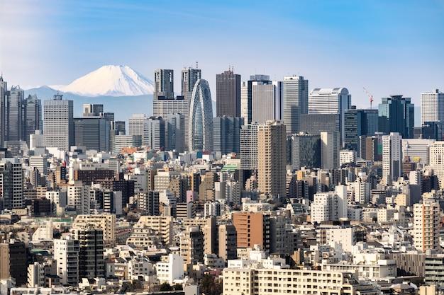 De horizon van tokyo en bergfuji in japan. Premium Foto