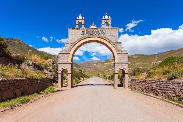De ingangspoort van de chivaystad in peru Premium Foto