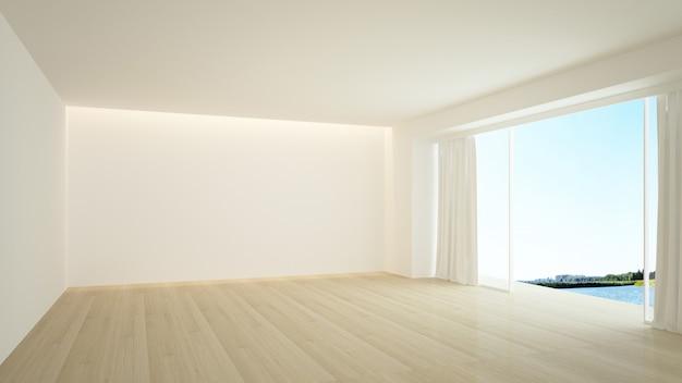 De interieur lege muur in condominium 3d-rendering Premium Foto