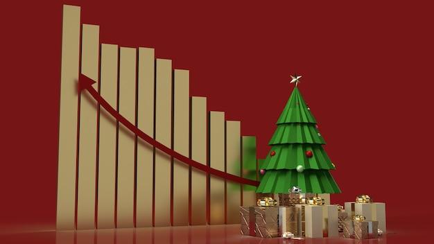 De kerstboom geschenkdozen en grafiek pijl omhoog voor marketinginhoud voor de feestdagen Premium Foto