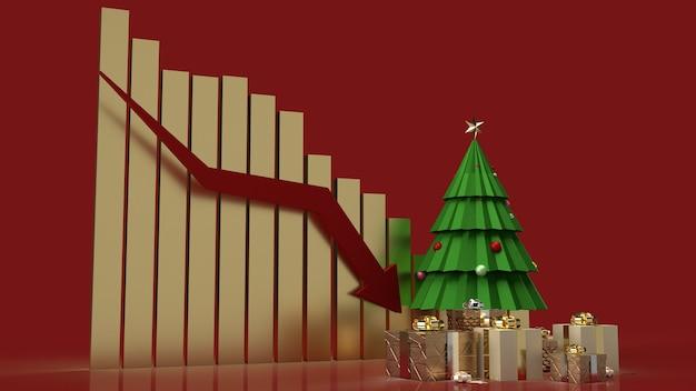 De kerstboom geschenkverpakkingen en grafiek pijl omlaag voor vakantiemarketinginhoud Premium Foto