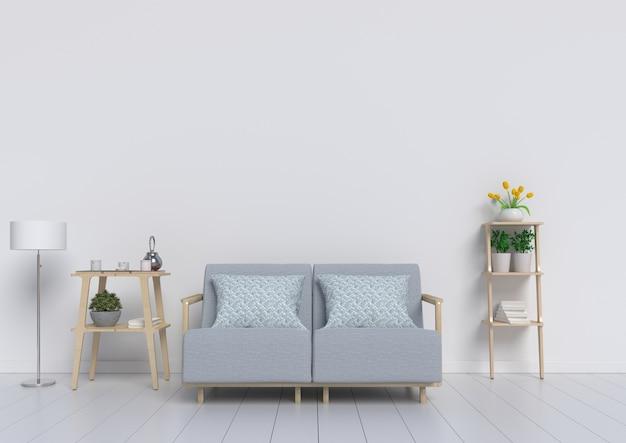 De lege woonkamer met heeft witte muur op de achtergrond, het 3d teruggeven Premium Foto