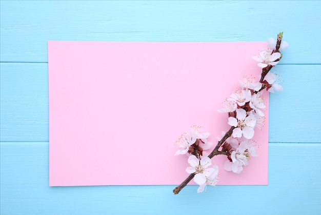 De lente bloeiende takken op blauwe houten achtergrond met copyspace. Premium Foto