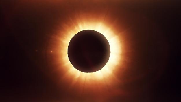 De maan die de zon bedekt in een gedeeltelijke zonsverduistering. Premium Foto
