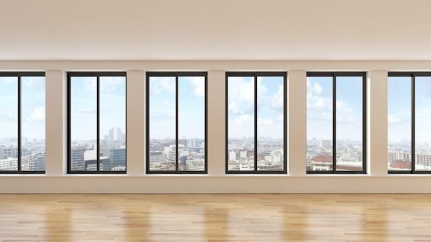 De moderne 3d woonkamer geeft terug Premium Foto