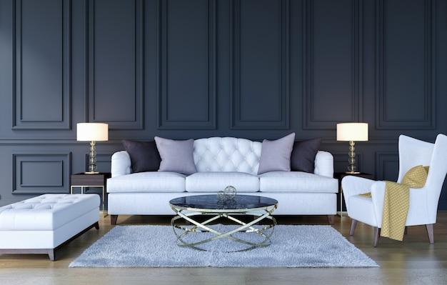 De moderne klassieke binnenlandse achtergrond van de luxewoonkamer met spot op affichekader Premium Foto