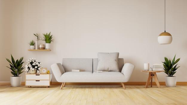 De moderne woonkamer met witte bank heeft kabinet en houten planken op houten bevloering en witte muur, het 3d teruggeven Premium Foto